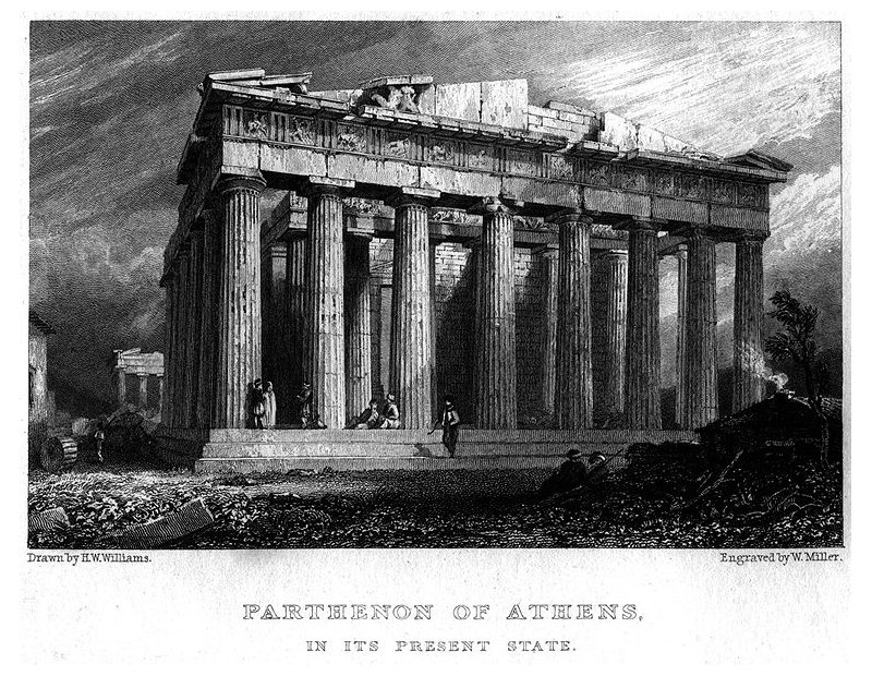 Parthenon of Athens engraved by William Miller after H W Williams in 1829