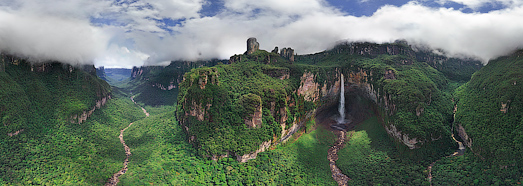 Churun-meru (Dragon) and Cortina falls, Venezuela - AirPano.com • 360 Degree Aerial Panorama • 3D Virtual Tours Around the World