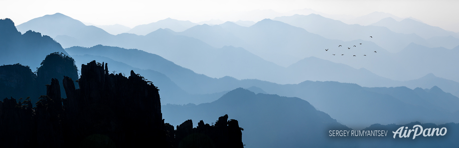 Sunset over Huangshan mountains