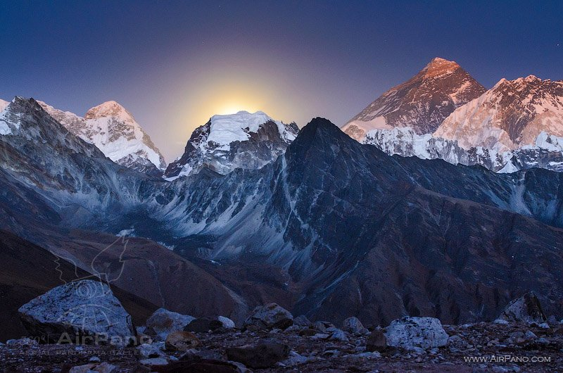 Moonrise over Everest