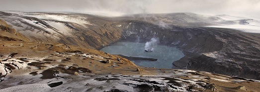 On the edge of the Grimsvotn volcano crater • AirPano.com • 360 Degree Aerial Panorama • 3D Virtual Tours Around the World