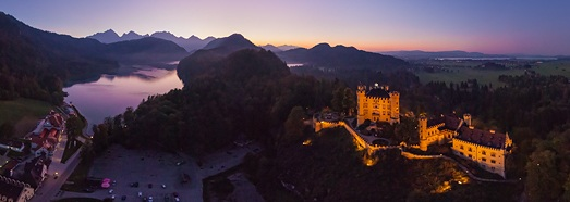 Fussen Town, Neuschwanstein and  Hohenschwangau Castles, Germany - AirPano.com • 360 Degree Aerial Panorama • 3D Virtual Tours Around the World
