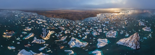Iceland, Jokulsarlon Ice Lagoon - AirPano.com • 360 Degree Aerial Panorama • 3D Virtual Tours Around the World