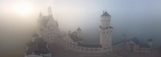 Neuschwanstein Castle in Fog, Germany - AirPano.com • 360 Degree Aerial Panorama • 3D Virtual Tours Around the World