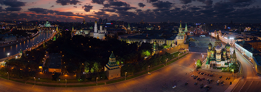 Moscow Kremlin at Night - AirPano.com • 360 Degree Aerial Panorama • 3D Virtual Tours Around the World
