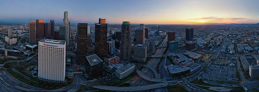 Los Angeles at dusk, CA, USA • AirPano.com • 360 Degree Aerial Panorama • 3D Virtual Tours Around the World