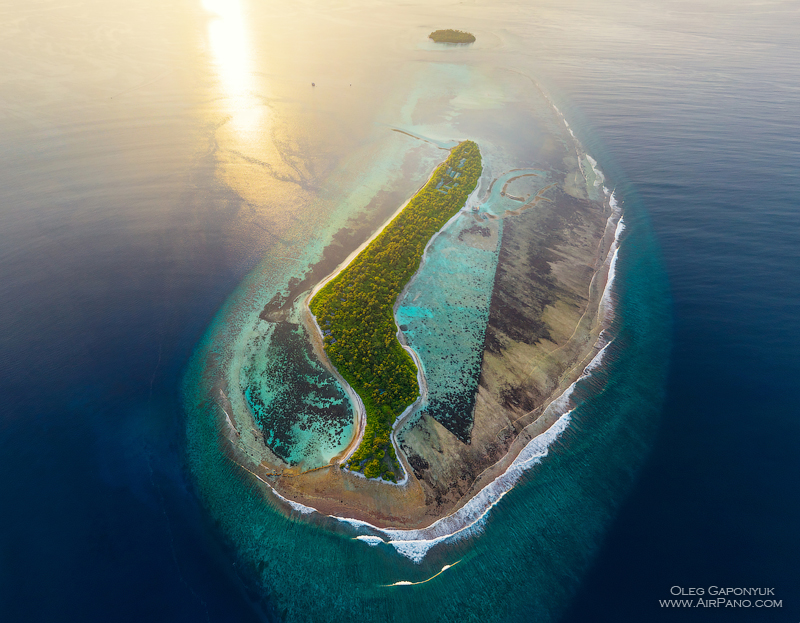 Southern Maldives. Above the Mahaddhoo Island