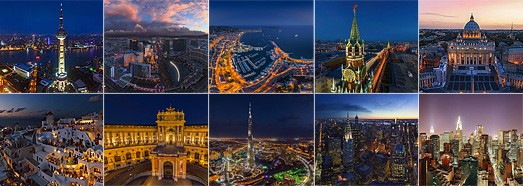 Night Cities • AirPano.com • 360° Aerial Panoramas • 360° Virtual Tours Around the World