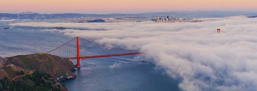 San Francisco, Golden Gate Bridge in the Fog • AirPano.com • 360 Degree Aerial Panorama • 3D Virtual Tours Around the World