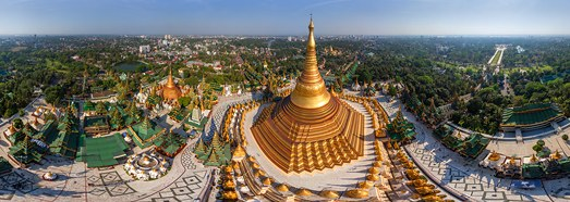 Shwedagon Pagoda, Myanmar • AirPano.com • 360 Degree Aerial Panorama • 3D Virtual Tours Around the World