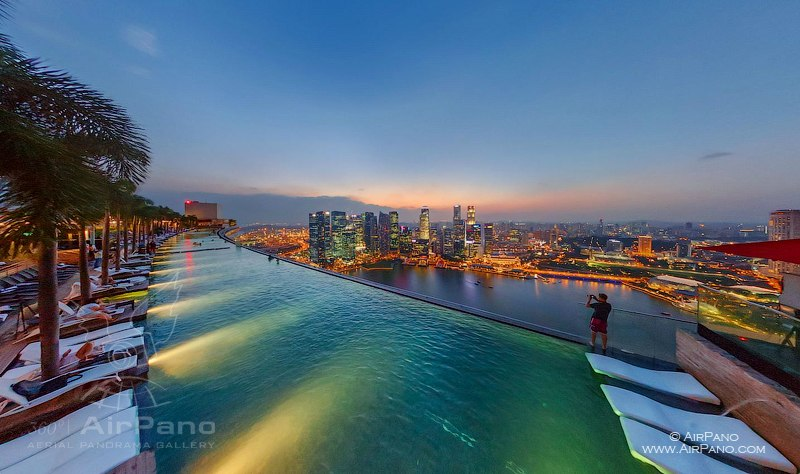 The pool on the top of Marina Bay Sands Hotel