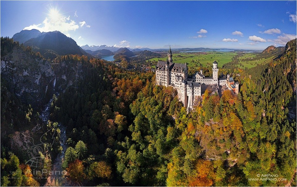 Bird's eye view of the Neuschwanstein Castle • AirPano.com • Photo