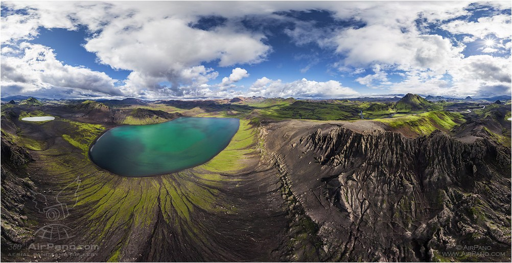 Iceland, Alftavatn lake, mount Storasula • AirPano.com • Photo