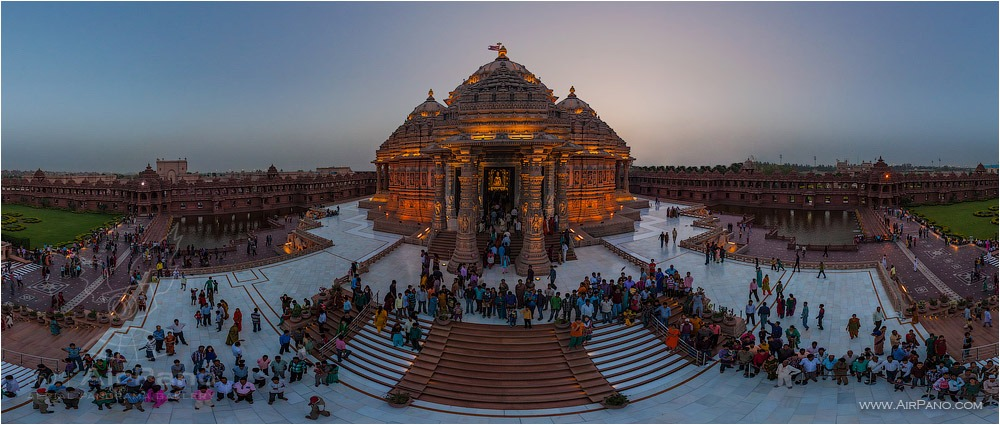 Akshardham at night • AirPano.com • Photo