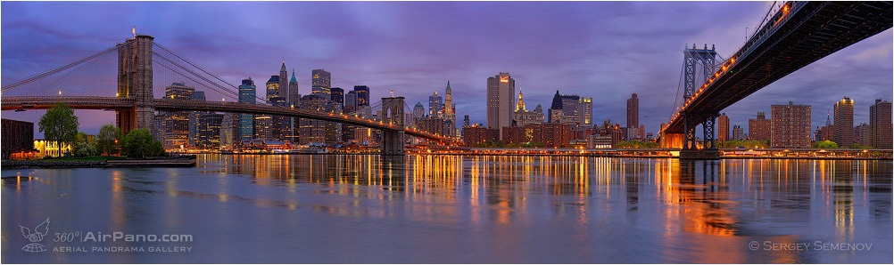 USA, New-York. Brookline bridge and Manhattan bridge • AirPano.com • Photo