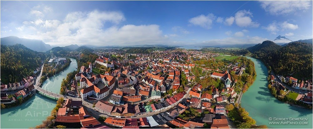 Germany, Fussen Town. Equidistant projection 1 • AirPano.com • Photo
