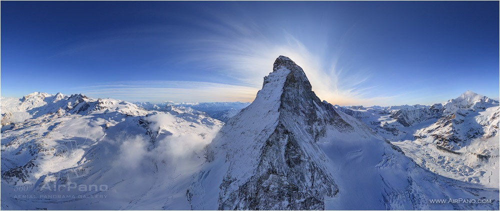 Switzerland, the Matterhorn Mountain and the Alps • AirPano.com • Photo