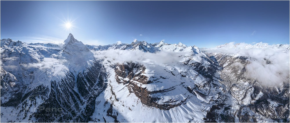 Switzerland, the Matterhorn Mountain and the village of Zermatt • AirPano.com • Photo