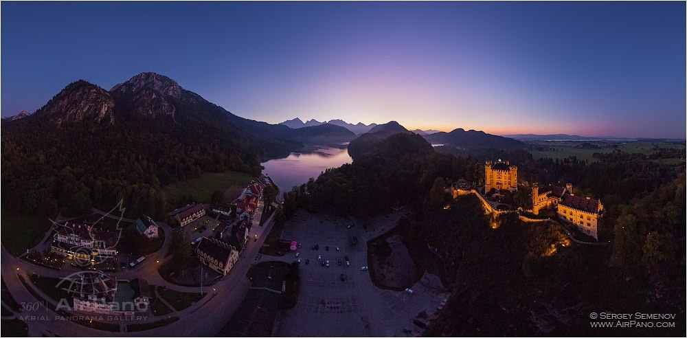Germany, Hohenschwangau Castle in the evening • AirPano.com • Photo