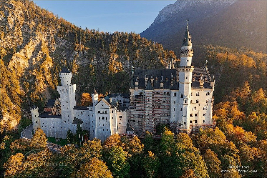 Germany, Neuschwanstein Castle, autumn colors • AirPano.com • Photo