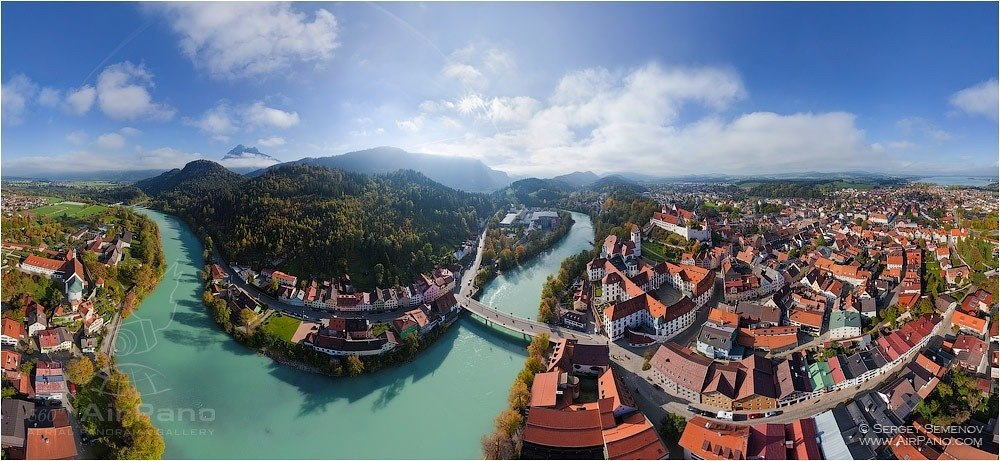 Germany, Fussen Town. Equidistant projection 2 • AirPano.com • Photo
