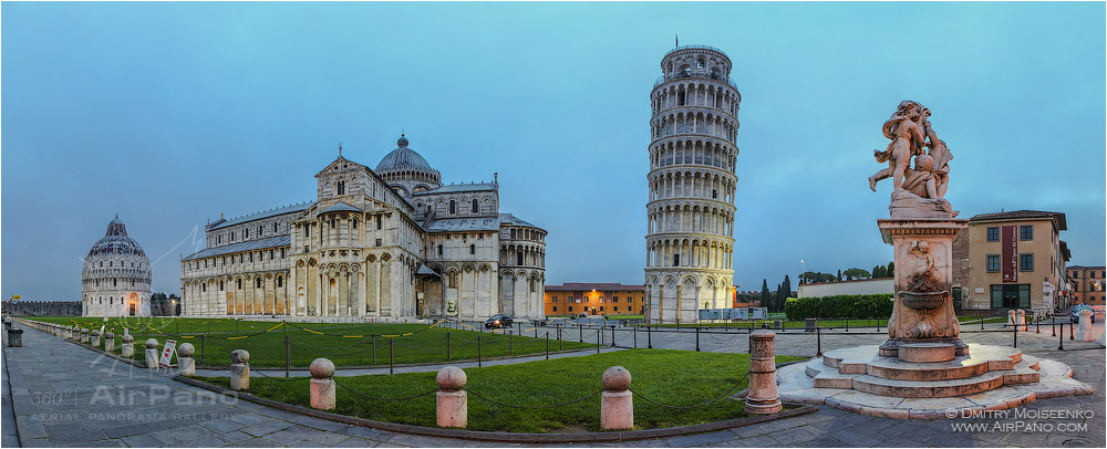 Italy, square of Miracles (Piazza dei Miracoli) at night • AirPano.com • Photo
