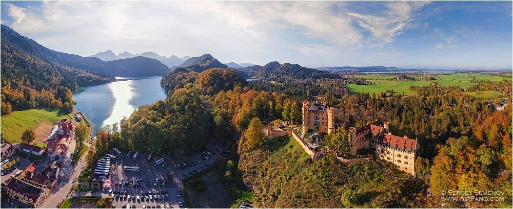 Germany, Lake Apsee and Neuschwanstein Castle • AirPano.com • Photo