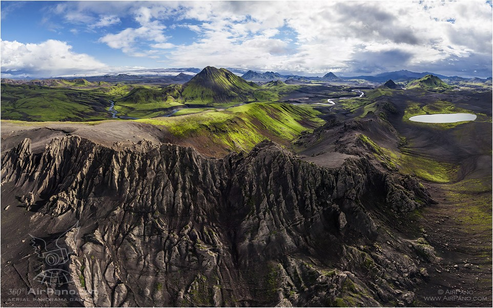 Iceland, lake Torfvatn and mount Storasula • AirPano.com • Photo