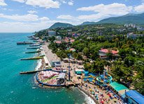Bird's eye view of Alushta public beach