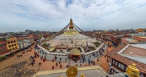 View of the Boudhanath Stupa from the rooftop of Buddha Ghyanghuti Gompa
