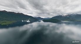 Helicopter above Lake Manapouri