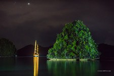Yacht at night, Wayag islands, Raja Ampat, Indonesia