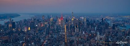 Aerial panorama of Manhattan at night