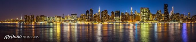 Panorama of New York at night