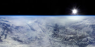 Caucasus Mountains from stratosphere #4