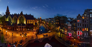 Oude Kerk and Red Light District. Amsterdam, Netherlands