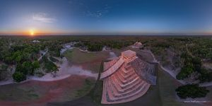 Mexico, Chichen Itza, Temple of Kukulcan in the last rays of the sun. Panorama