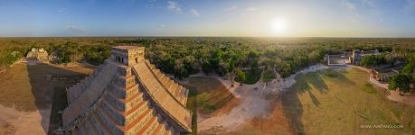 Mexico, Temple of Kukulcan at sunset. Panorama