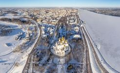 Bird's eye view of the Assumption Cathedral, Yaroslavl, Russia