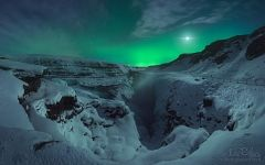 Northern Lights over Iceland snow
