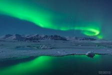 Aurora above the Jökulsárlón lagoon