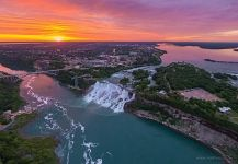 Niagara Falls at sunset, Canada-USA