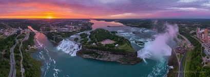 Panorama of Niagara Falls at sunset, Canada-USA