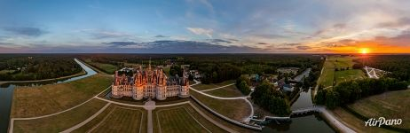 Château de Chambord at sunset. Panorama