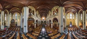 Panorama of the interior of the Jakarta Cathedral