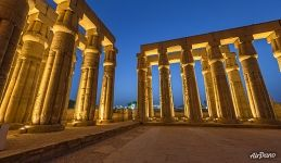 Court of Amenhotpe III at night. Luxor Temple
