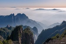 Fog above Huangshan mountains