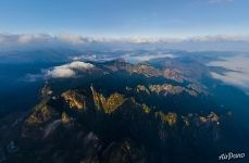 Huangshan mountains from above