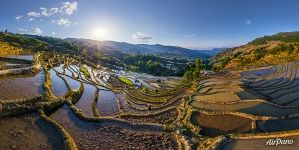 Yuanyang rice terraces. Bada Terraces at sunset