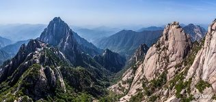 Huangshan mountains. View from the Lotus Peak
